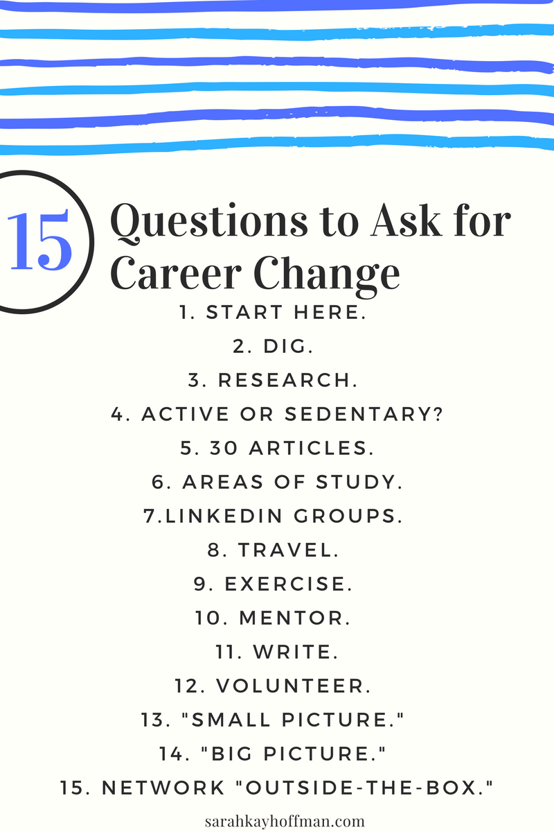 15 Questions to Ask for Career Change agutsygirl.com LinkedIn Sarah Kay Hoffman Content Marketing