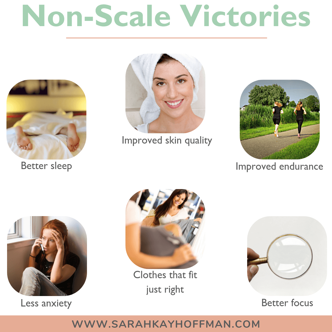 Giving Up the Scale for a Year www.sarahkayhoffman.com Non Scale Victories #goals #weightloss #healthyliving #guthealth