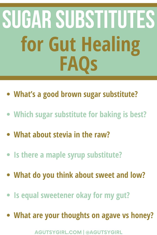 Sugar Substitutes FAQ agutsygirl.com #sugarswap #sugarsubstitutes #iquitsugar