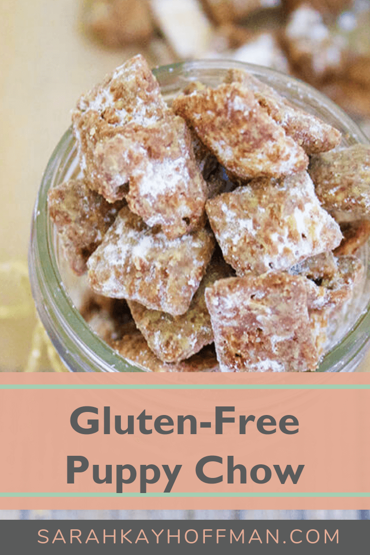 Gluten Free Puppy Chow www.sarahkayhoffman.com #glutenfree #healthyliving #recipes #dairyfree #holiday