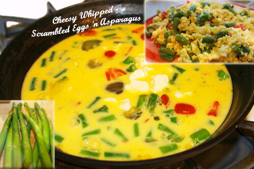 Cheesy Whipped-Scrambled Eggs 'n Asparagus