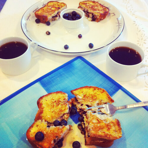 Gluten Free Blueberry Cinnamon Cream Stuffed French Toast sarahkayhoffman.com