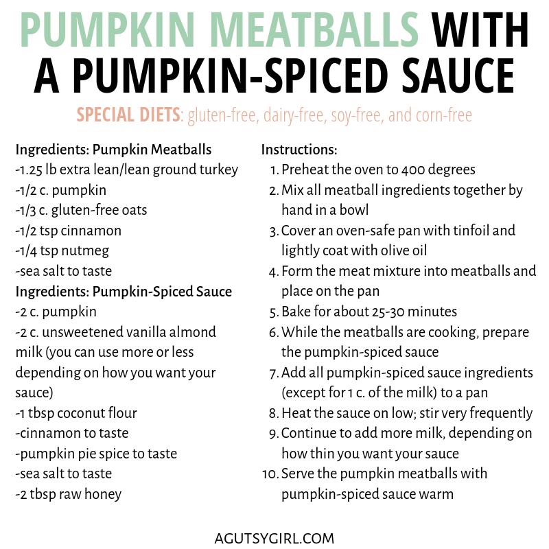 Pumpkin Meatballs with a Pumpkin-Spiced Sauce agutsygirl.com #pumpkin #pumpkinspice #glutenfree #recipes