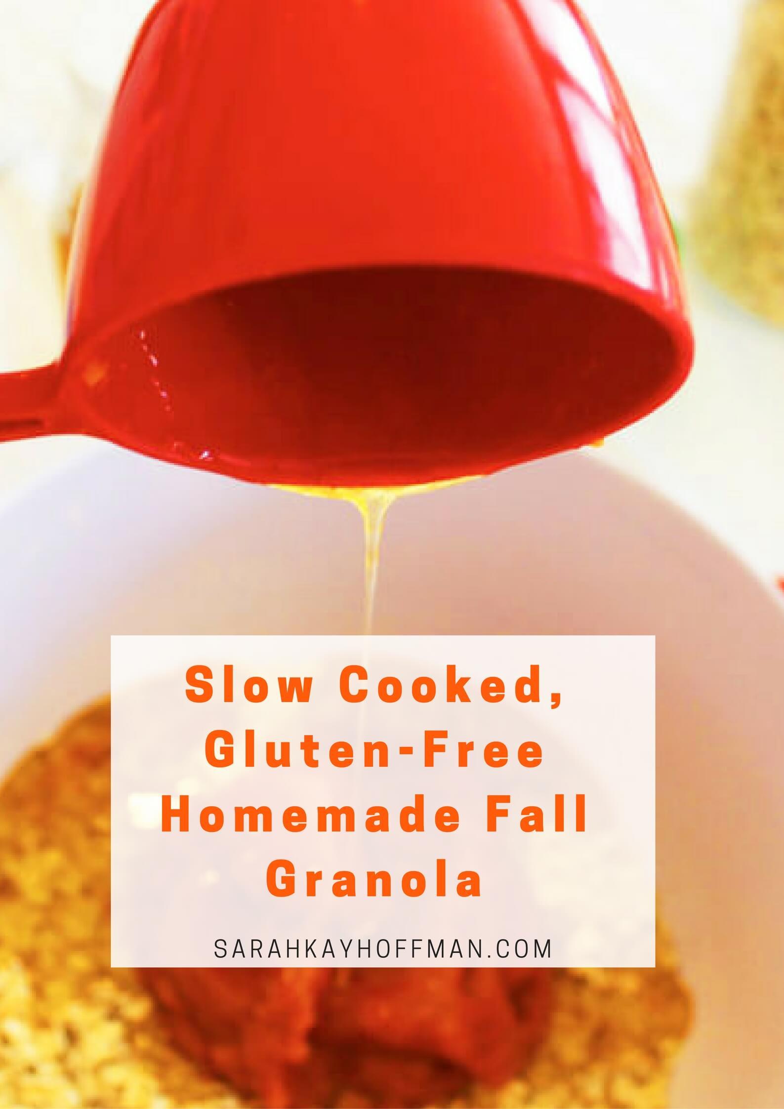 Slow Cooked, Gluten-Free Homemade Fall Granola via sarahkayhoffman.com #glutenfree #glutenfreerecipes #granola #fall