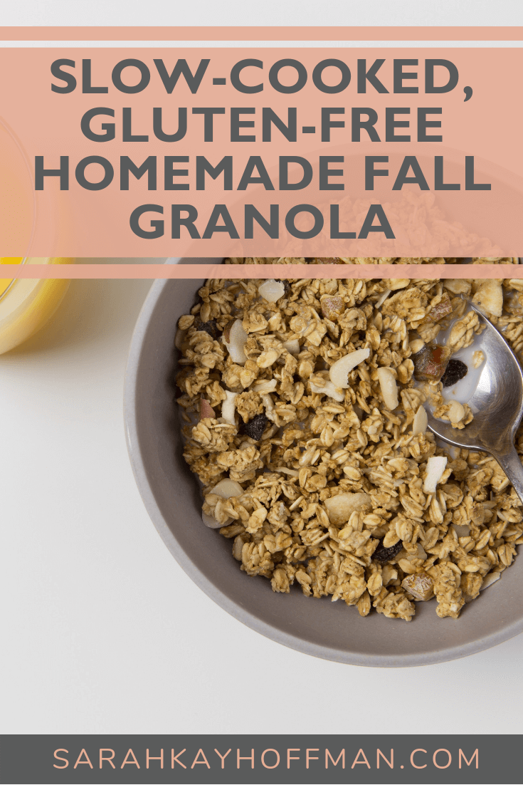 Slow Cooked, Gluten-Free Homemade Fall Granola www.sarahkayhoffman.com #glutenfree #glutenfreerecipes #granola #fall