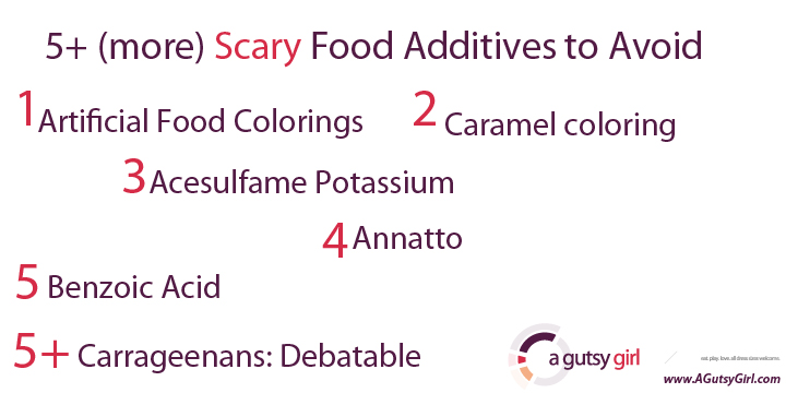 5 More Scary Food Additives via sarahkayhoffman.com #ibs #healthyliving #guthealth #gmos #health