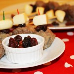 Mini Swedish Meatballs, Mini Babybel Light & Dried Bing Cherry Skewers