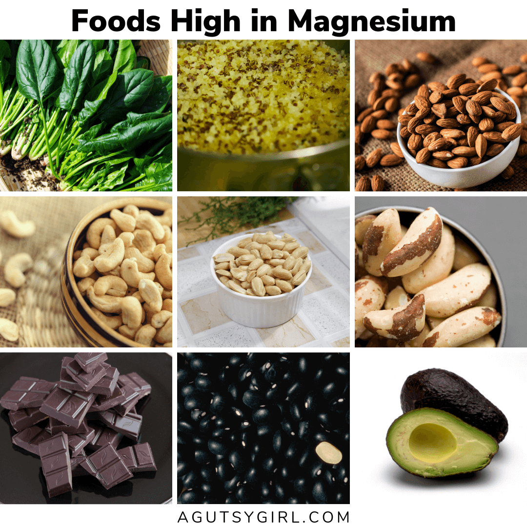 Foods High in Magnesium agutsygirl.com constipation gut health digestion #magnesium #guthealth #healthyliving