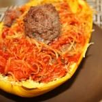 Spaghetti Squash & Meatball Boats
