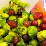 Roasted Brussels Sprouts, Grapes & Walnuts Mixing