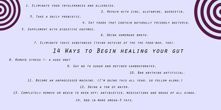 14 Ways to Begin Healing Your Gut sarahkayhoffman.com