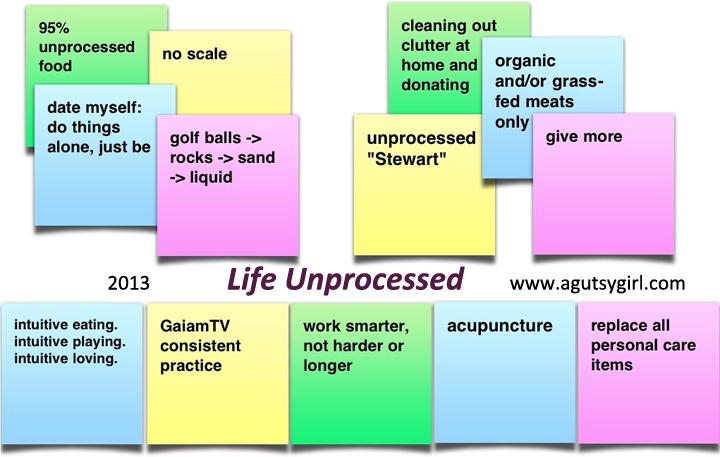 Life Unprocessed in 2013 via www.agutsygirl.com