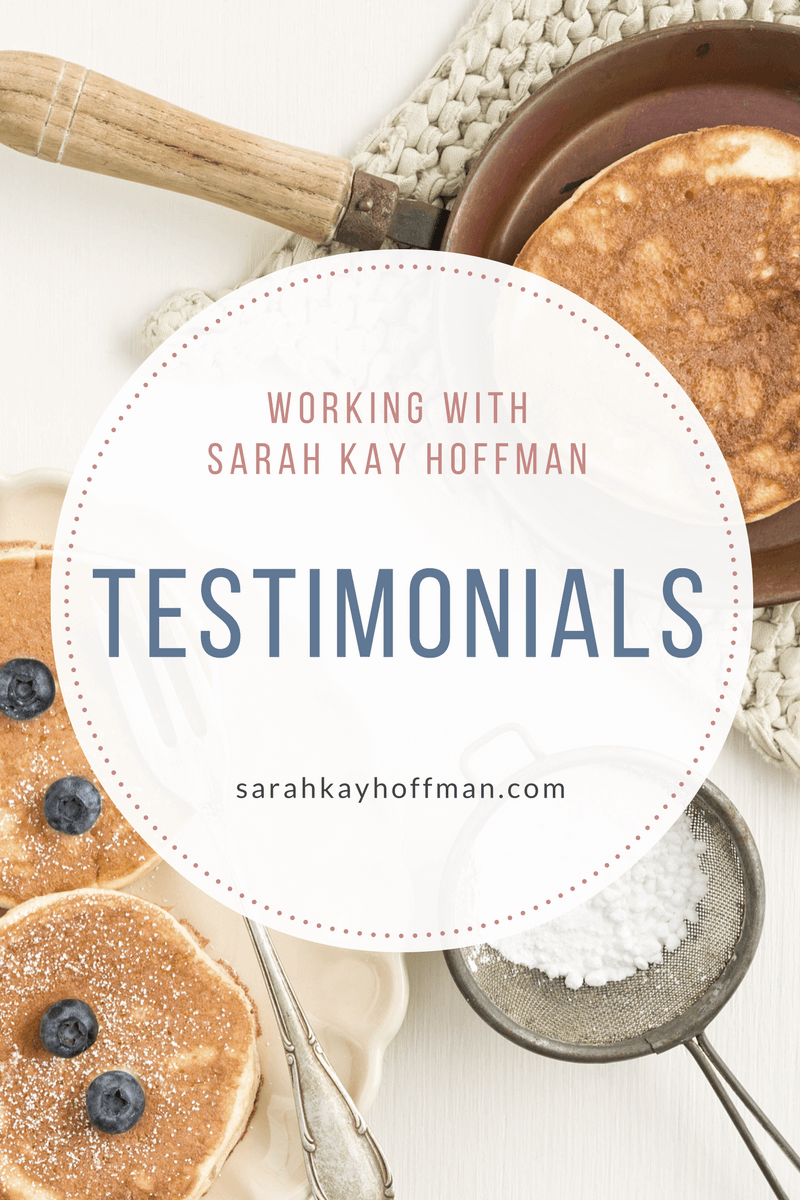 Working with Sarah Kay Hoffman Testimonials sarahkayhoffman.com health coaching, IBS, IBD, SIBO, adoption, speaker, content