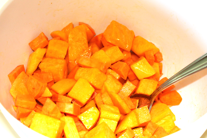 Mix it first Sweet Potato Butternut Squash Miso Mash recipe via www.agutsygirl.com