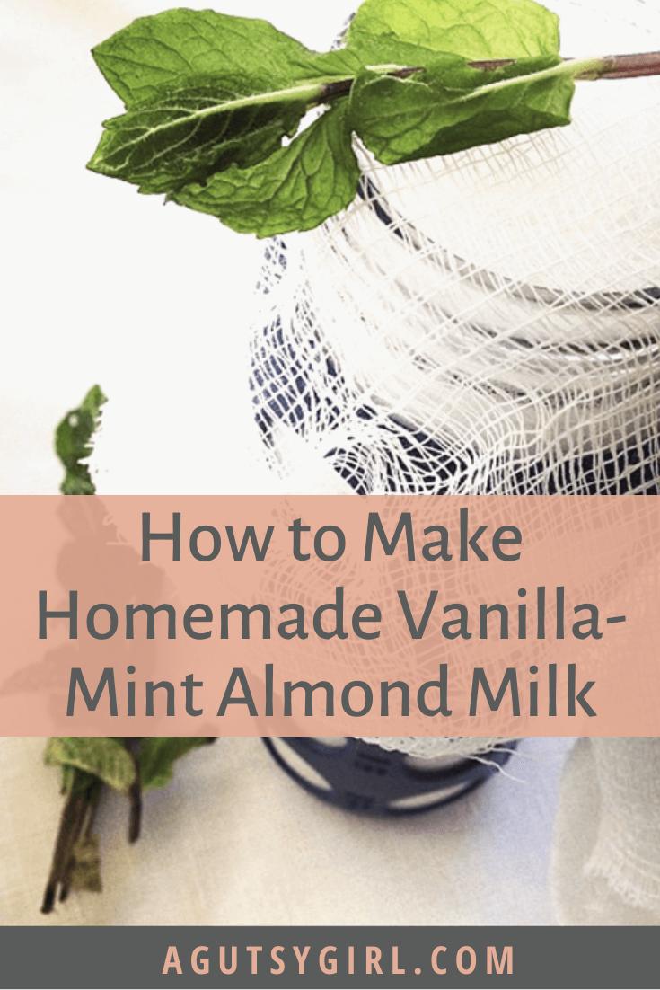 How to Make Homemade Vanilla Mint Almond Milk agutsygirl.com #homemademilk #dairyfreerecipe #guthealth