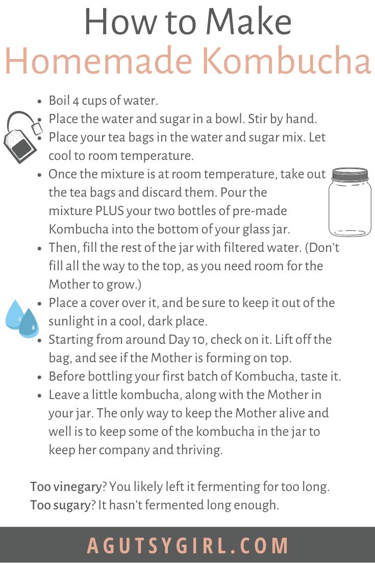 How to Make Homemade Kombucha agutsygirl.com #diy #fermentedfoods #kombucha DIY steps