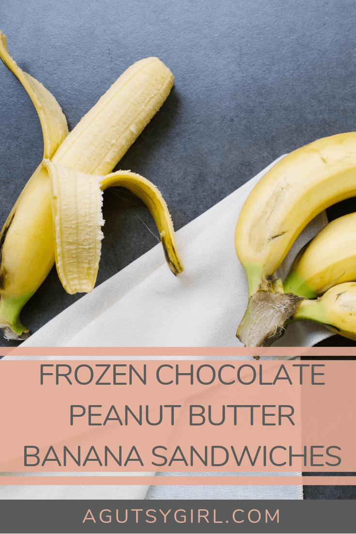 Frozen Chocolate Covered Peanut Butter Banana Sandwiches agutsygirl.com #peanutbutter #banana #glutenfreerecipe #dairyfree