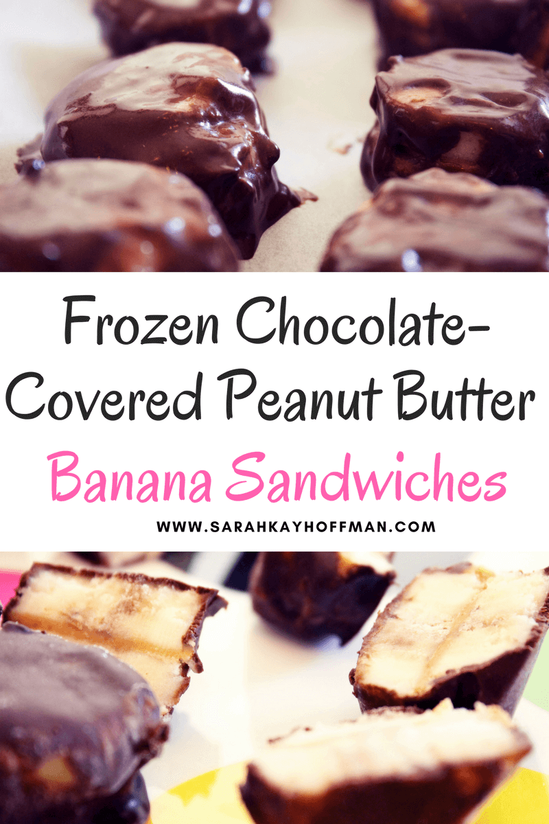 Frozen Chocolate-Covered Peanut Butter Banana Sandwiches sarahkayhoffman.com #dairyfree #glutenfree #Vegan #nutbutter #peanutbutter