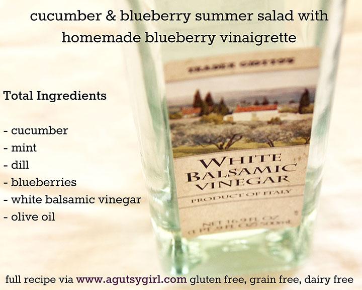 ingredients for cucumber & blueberry summer salad with homemade blueberry vinaigrette recipe via www.agutsygirl.com #glutenfree #grainfree #dairyfree #paleo