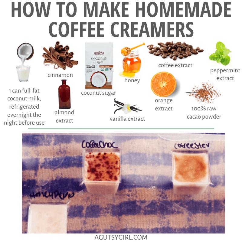 How to Make Homemade Coffee Creamers agutsygirl.com #coffeecreamer #dairyfree #guthealth #coffee