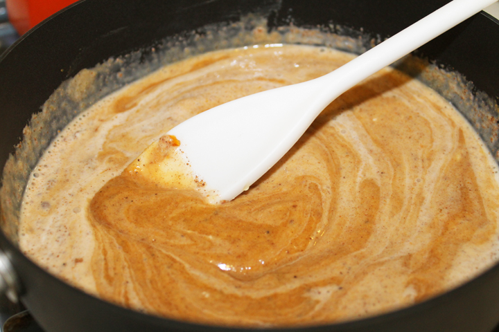 Pumpkin Spiced Latte mixing for how to make your own Pumpkin Spiced Latte (gluten, grain, dairy, soy and egg free) #recipe via www.agutsygirl.com