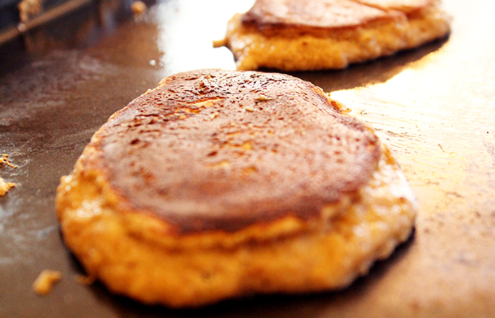 skillet cooking for sea salted cinnamon almond butter pancakes recipe via www.agutsygirl.com #almondbutter via www.alovingspoon.com #glutenfree #grainfree #dairyfree #paleo
