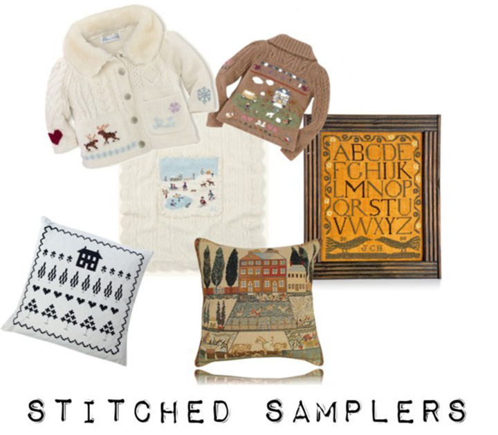 stitched sampler collection from Polyvore via www.agutsygirl.com