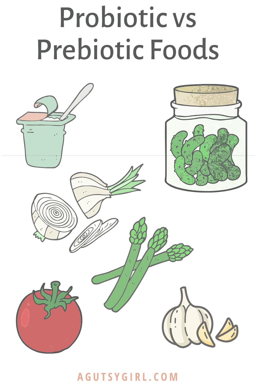 Probiotic vs Prebiotic Foods agutsygirl.com #probiotics #prebiotics #guthealth #immunesystem
