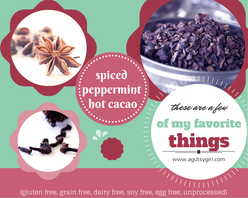 These are a few of my favorite things. Spiced Peppermint Hot Cacao (gluten free, grain free, dairy free, soy free, egg free, unprocessed) via www.agutsygirl.com