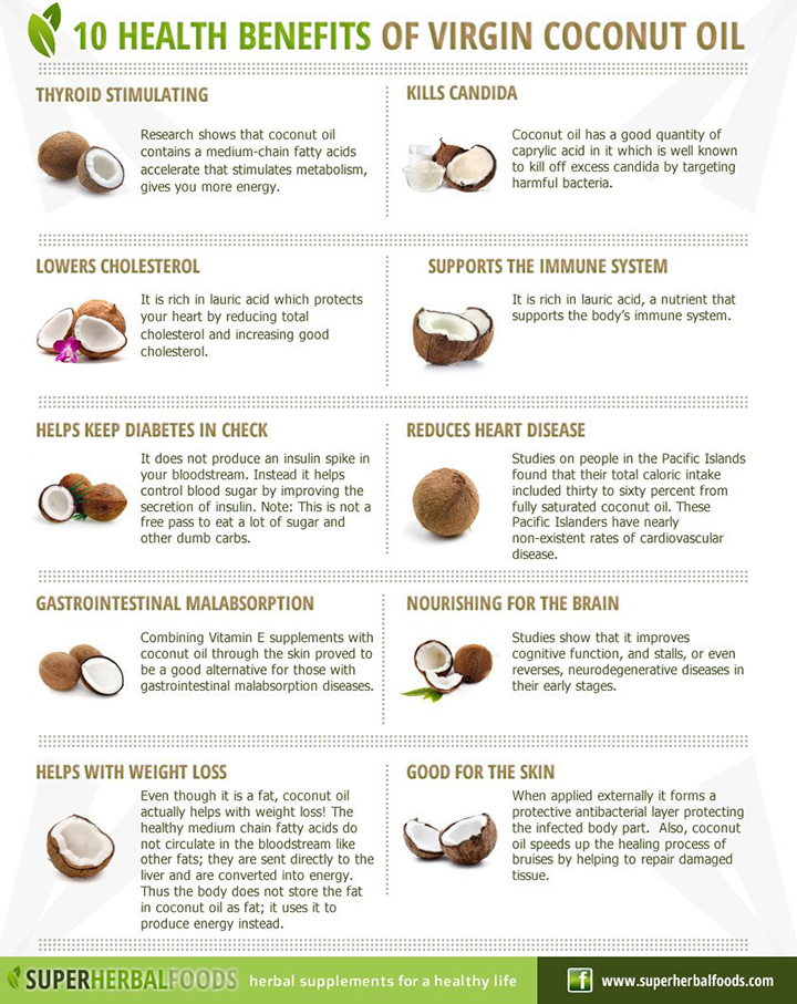 10-Health-Benefits-Of-Virgin-Coconut-Oil-Infographic via www.agutsygirl.com Gutsy Pantry #Organic #coconutoil