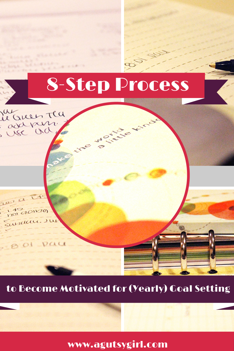 8-Step Process to Become Motivated for (Yearly) Goal Setting Learn how via www.agutsygirl.com #Goals #goalsetting #newyear #healthyliving