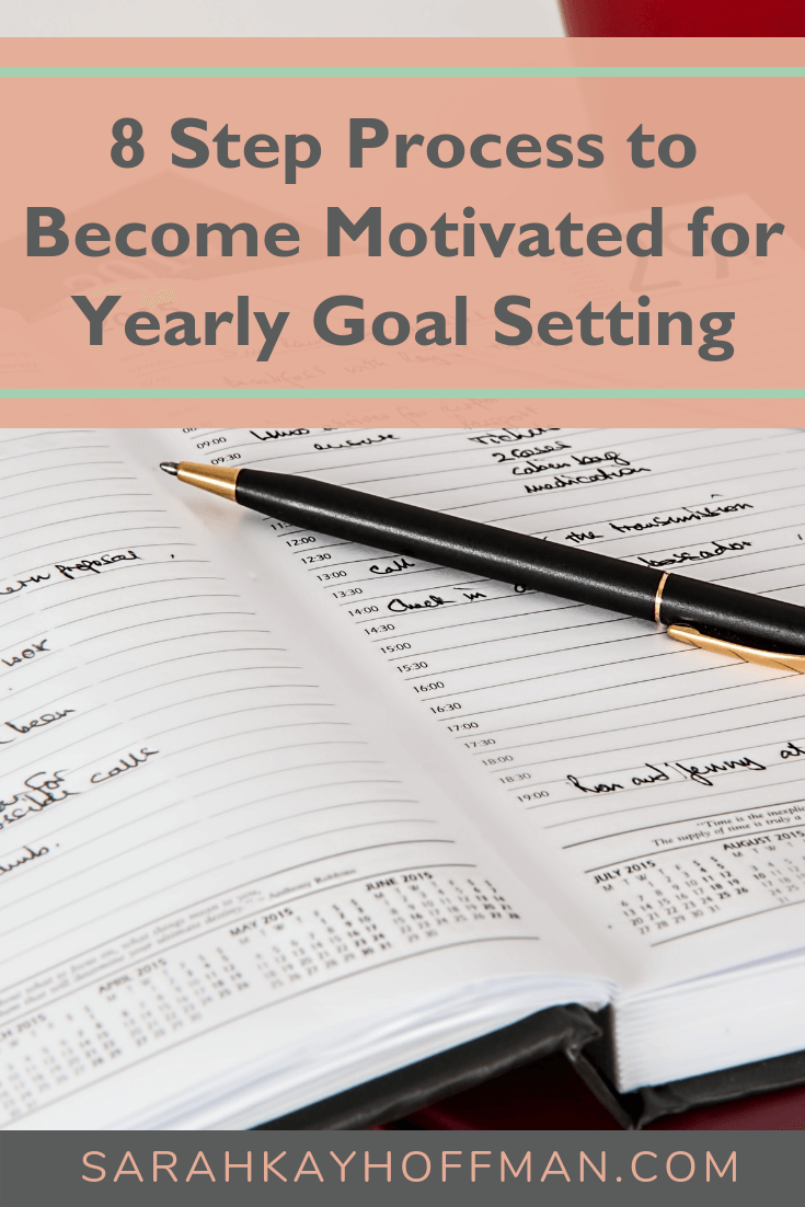 8 Step Process to Become Motivated for Yearly Goal Setting www.sarahkayhoffman.com #goals #healthyliving #goalsetting #newyear