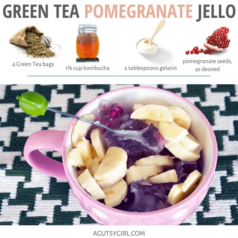 Green Tea Pomegranate Jello recipe agutsygirl.com #greentea #glutenfree #guthealth