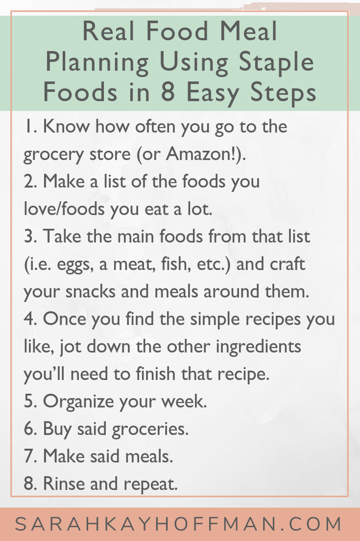 Real Food Meal Planning Using Staple Foods in 8 Steps www.sarahkayhoffman.com #realfood #guthealth #healthyliving #eatrealfood