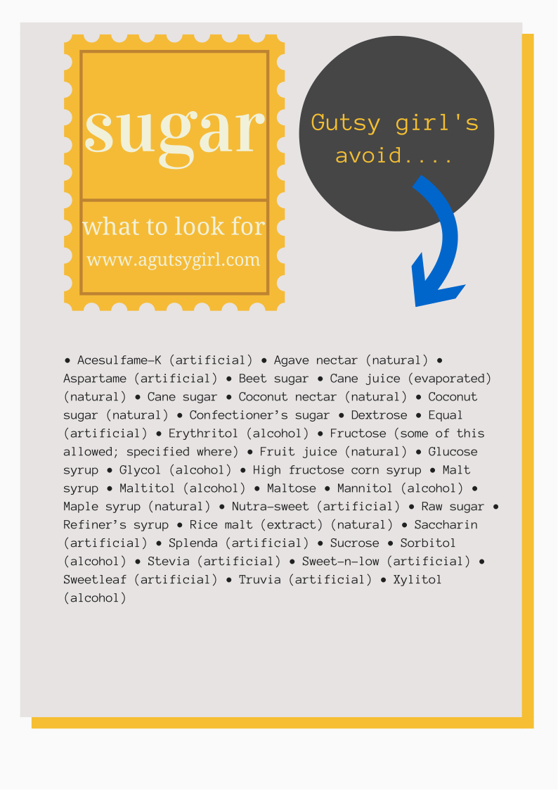 Sugar. Sugar free. What to look for. What to avoid. www.agutsygirl.com #Sugar