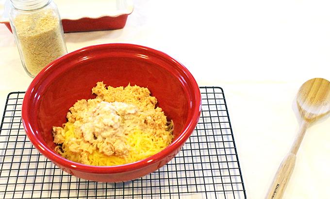 Ingredients for Cheesy Tuna Casserole via www.agutsygirl.com