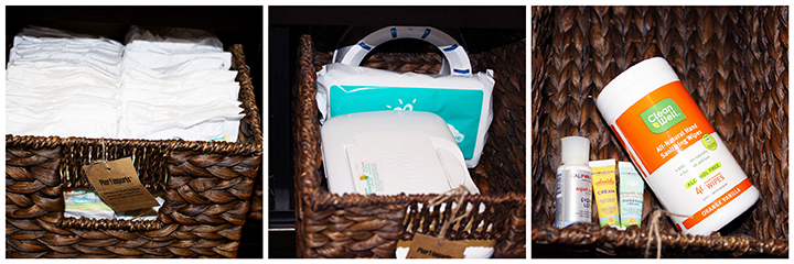 Diaper Chaging Dresser Cubby Organization How to via www.agutsybaby.com Mighty Nest Sanitizing Wipes