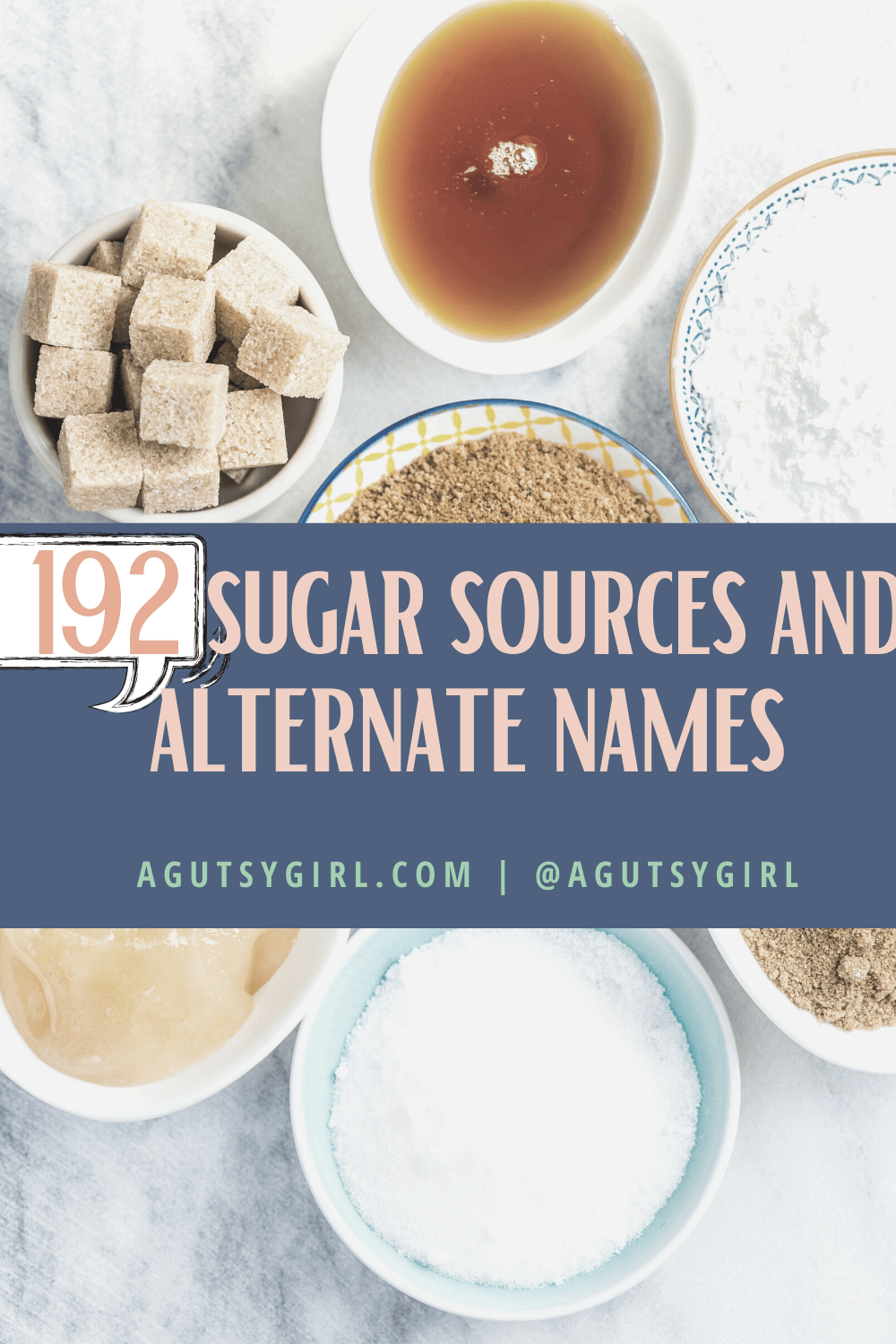 192 sugar sources and alternate names agutsygirl.com #whole30 #guthealth #sugar #iquitsugar