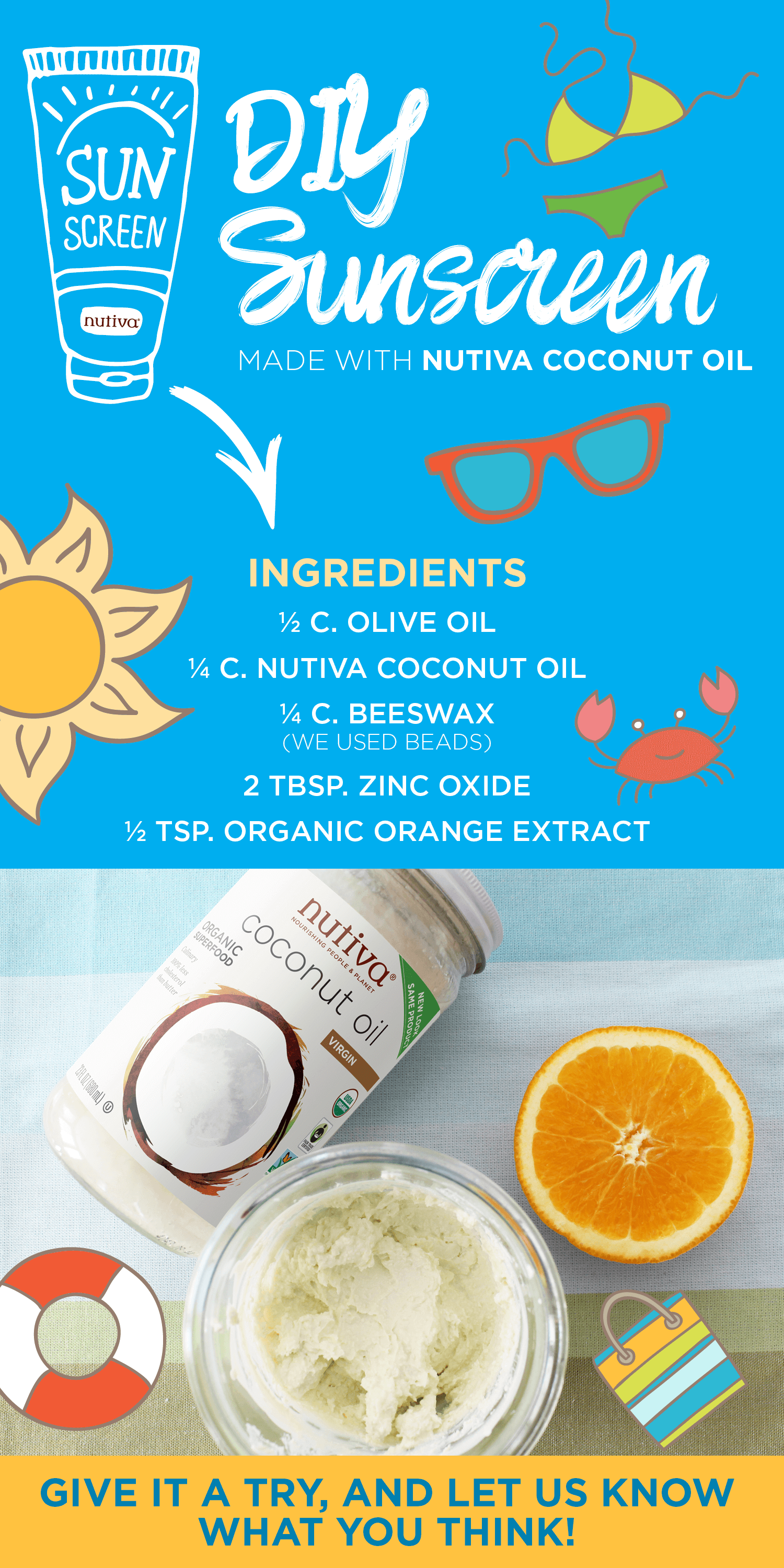 DIY Sunscreen with Nutiva Coconut Oil agutsygirl.com #sunscreen #natural #summer