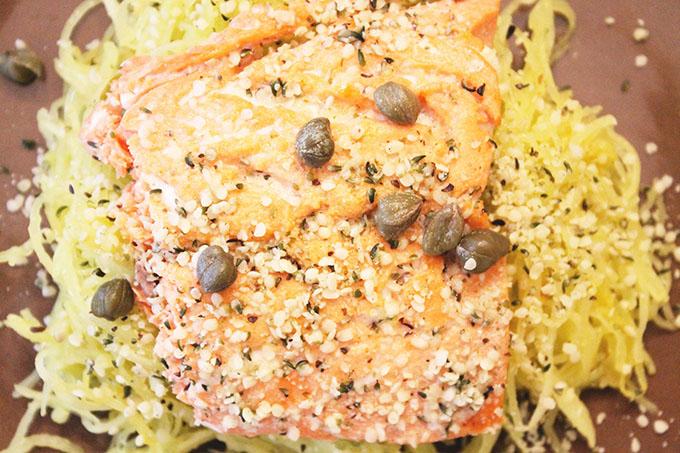 Capers Lemon-Garlic Basil Spaghetti Squash {featuring Nutiva Organic Hemp} agutsygirl.com
