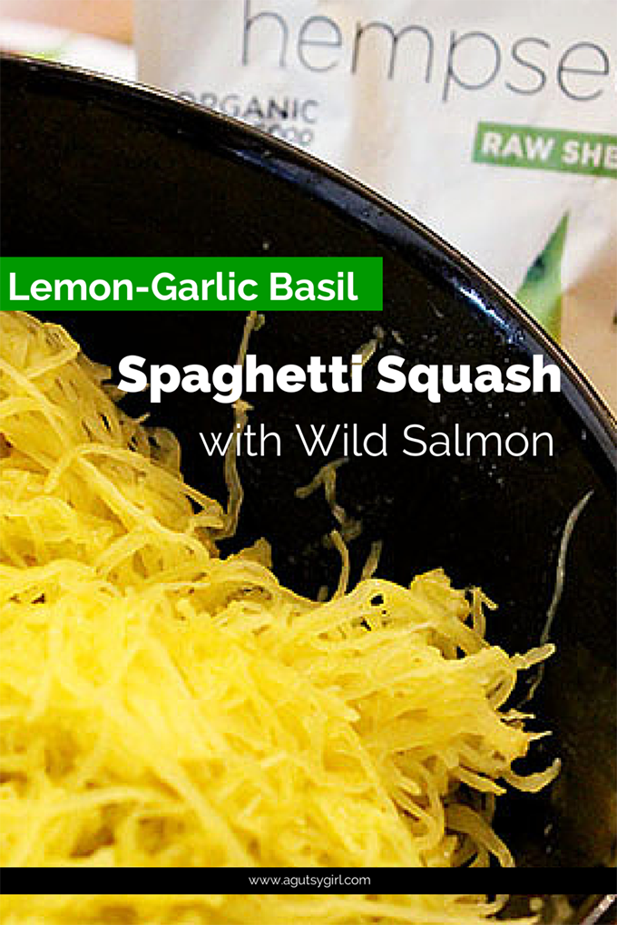 Lemon-Garlic Basil Spaghetti Squash {featuring Nutiva Organic Hemp} Recipe agutsygirl.com