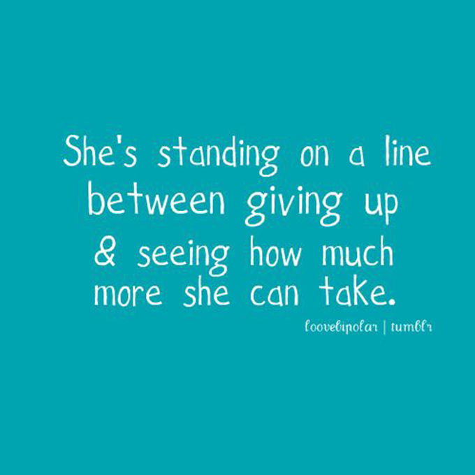 She's standing on a line www.agutsygirl.com