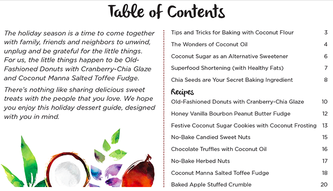 8 Holiday Dessert Recipes inspired by the superfood coconut Table of Contents www.sarahkayhoffman.com