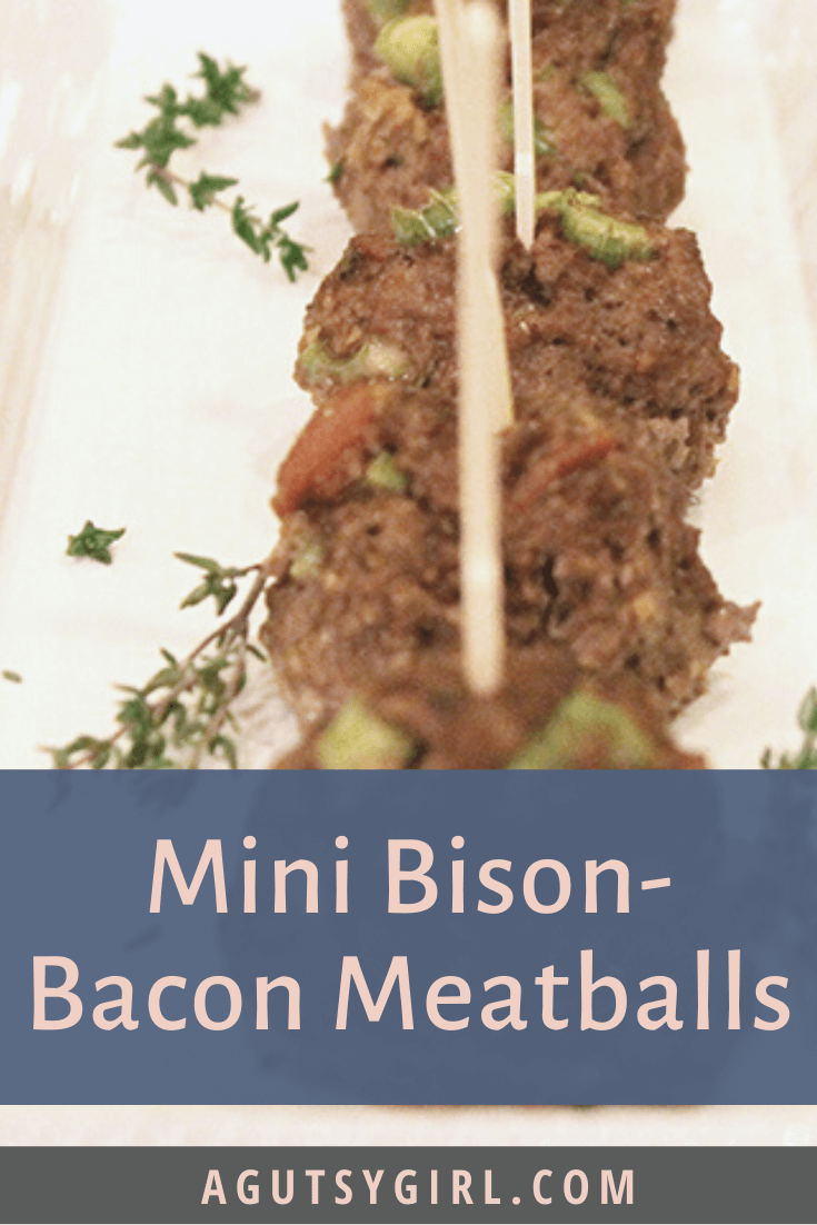 Mini Bison-Bacon Meatballs agutsygirl.com #glutenfreerecipes #bison #meatballs