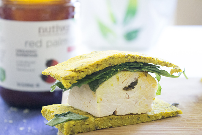 Flatbread Basil Baked Chicken (with Red Palm Oil) Sandwich sarahkayhoffman.com Chicken Sandwich Cut nutiva.com