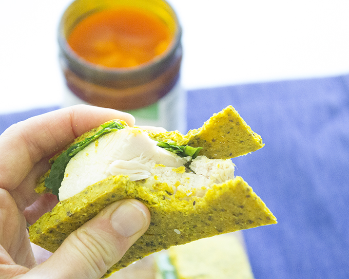 Flatbread Basil Baked Chicken with Red Palm Oil Sandwich sarahkayhoffman.com Chicken Sandwich Red Palm Oil Bite 2 nutiva.com