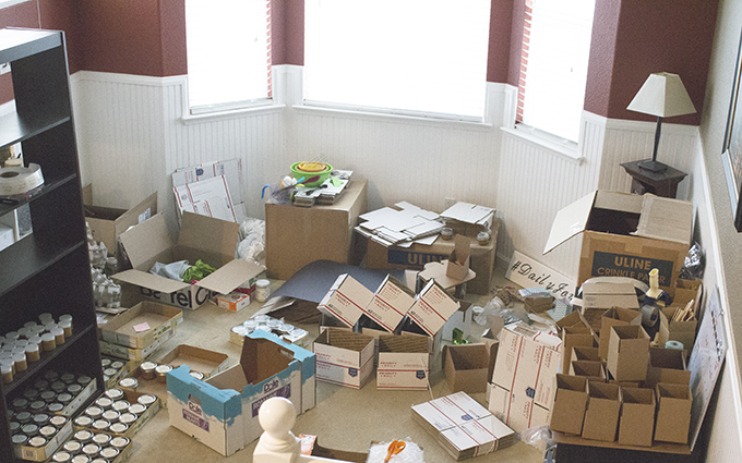 Shipping Department Mess. Nothing Beautiful About This Mess. sarahkayhoffman.com