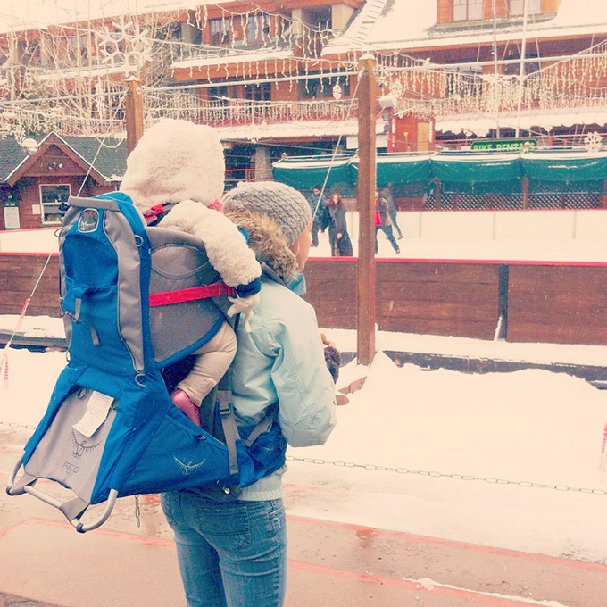 Backpack with Samarah. Lake Tahoe Heavenly. Adoption has Changed Our Lives. sarahkayhoffman.com