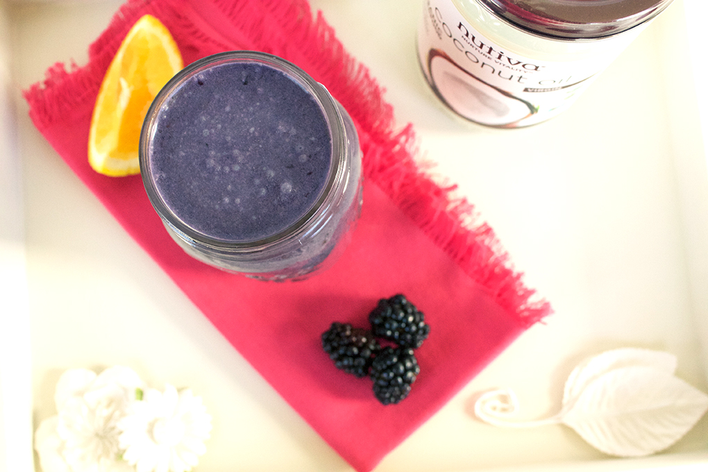 SKH Blackberry-Citrus Rise 'n Shine Smoothie 7 Days of Smoothies Challenge with Nutiva sarahkayhoffman.com