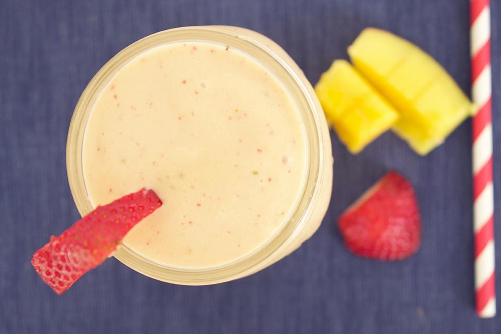 Smoothie Recipes Galore Coconut Strawberry-Mango Smoothie sarahkayhoffman.com
